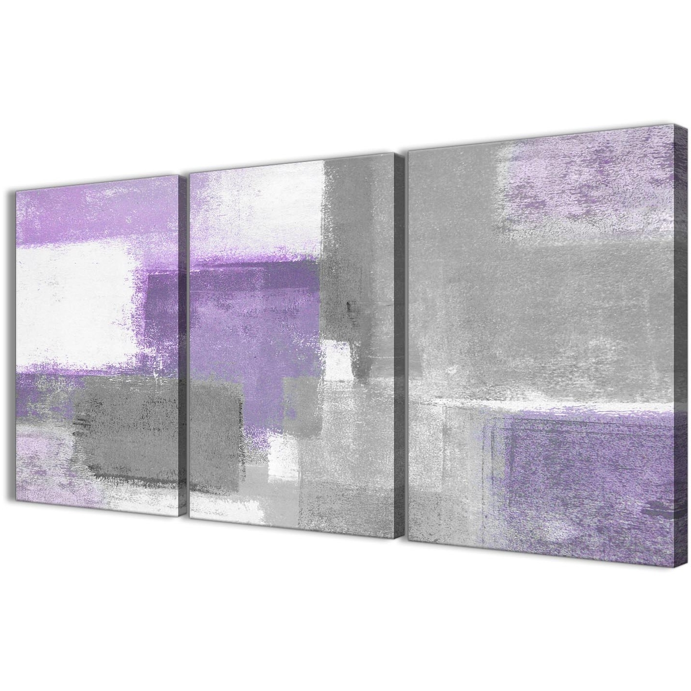 Purple Wall Art Canvas Intended For Most Recent 3 Piece Purple Grey Painting Kitchen Canvas Pictures Decor (View 10 of 15)