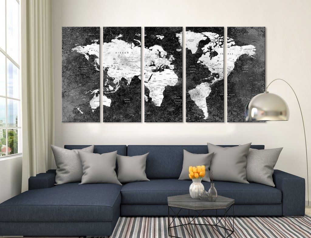 Push Pin Black World Map, Large Wall Art, Push Pin World Map, World Within Famous Extra Large Wall Art (View 8 of 15)