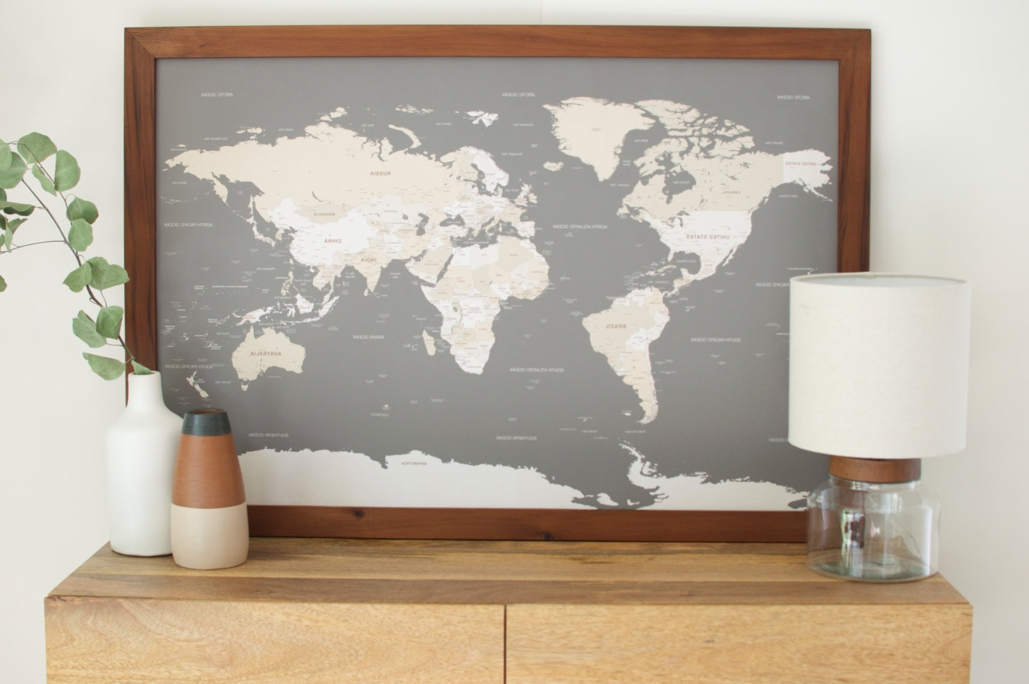 Push Pin Travel Map World Wall Art And Framed Maps Madriver Me New Inside Latest World Map Wall Art Framed (View 11 of 15)