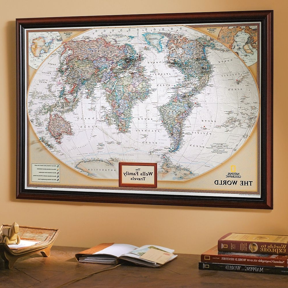 Push Pin Travel Map World Wall Art And Framed Maps Madriver Me New Intended For 2017 World Map Wall Art Framed (View 12 of 15)