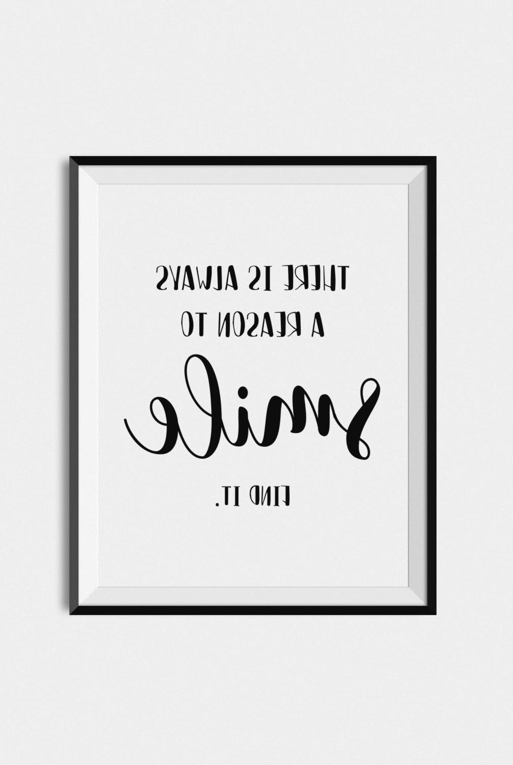 Quote Print Smile, Digital Download Art, Printable Wall Art, Black regarding 2017 Quote Wall Art
