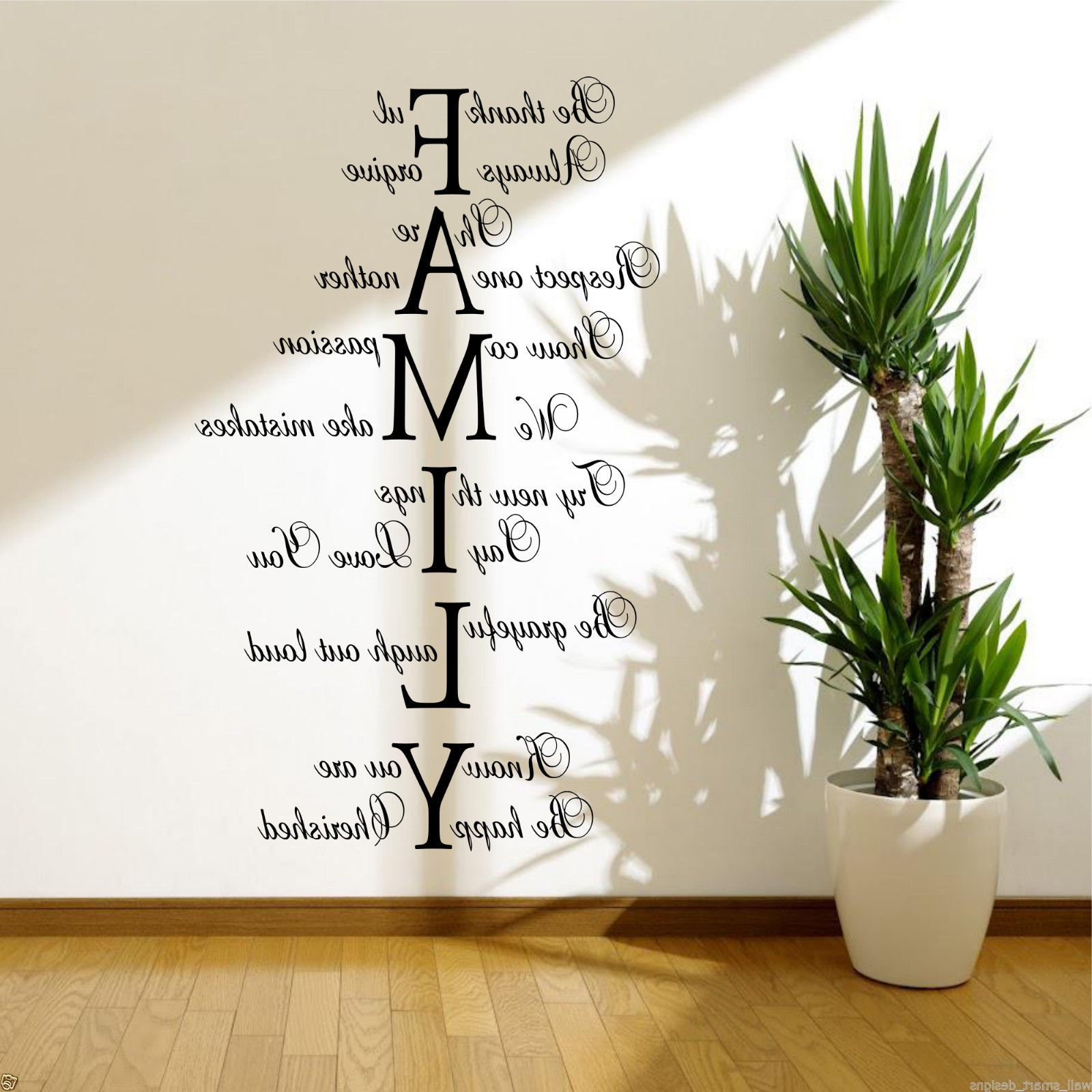 Quote Wall Art with regard to Latest Family Love Life Wall Art Sticker Quote Room Decal Mural Transfer