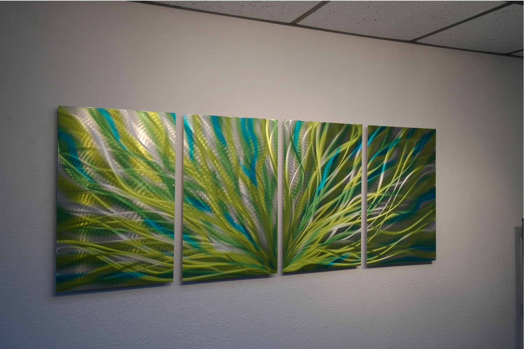 Radiance Cyan Chartreuse – Abstract Metal Wall Art Contemporary Inside Most Recently Released Green Wall Art (View 13 of 15)