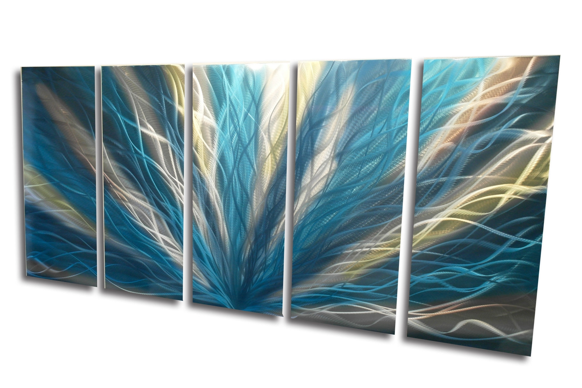 Radiance Teal 36X79 – Metal Wall Art Abstract Sculpture Modern Decor Regarding Widely Used Teal And Brown Wall Art (View 9 of 15)
