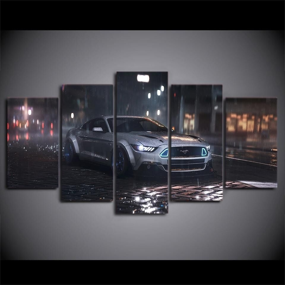 Recent 5 Piece Canvas Wall Art Silver Ford Mustang Cobra Shelby Car Intended For Car Canvas Wall Art (View 7 of 15)
