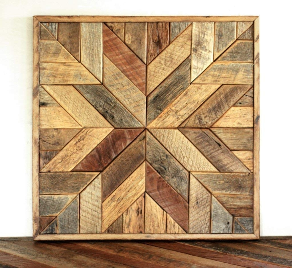 Recent Amazon: Reclaimed Wood Star Quilt Block Wall Art – 26 Inch: Handmade Throughout Reclaimed Wood Wall Art (View 7 of 15)