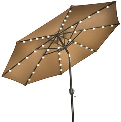 Recent Amazon : Strong Camel 9'new Solar 40 Led Lights Patio Umbrella In Patio Umbrellas With Solar Lights (View 11 of 15)