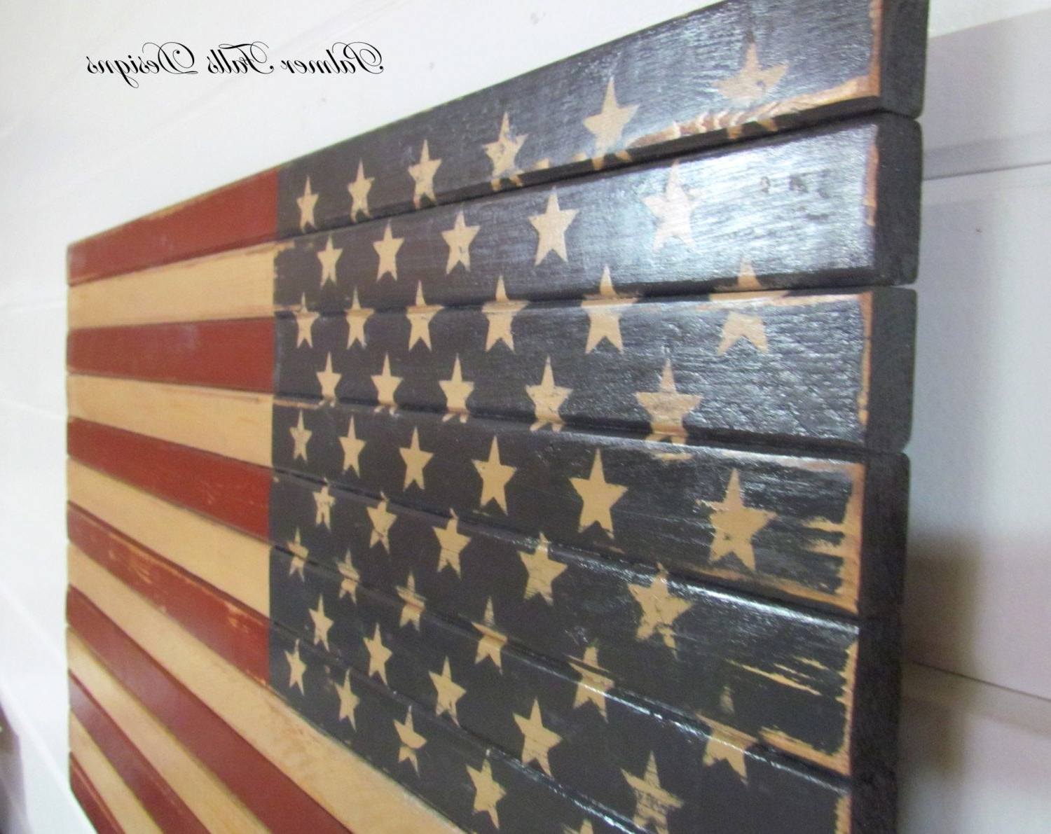 Recent American Flag Wall Art Throughout Traditional Wood American Flag / Patriotic Decor / Flag Wall Hanging (View 8 of 15)