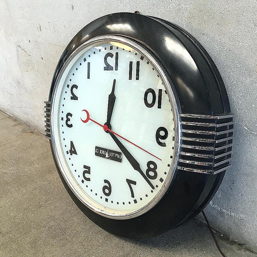 Recent Art Deco Wall Clock Black : Andrews Living Arts – Unique Art Deco Within Art Deco Wall Clock (View 6 of 15)