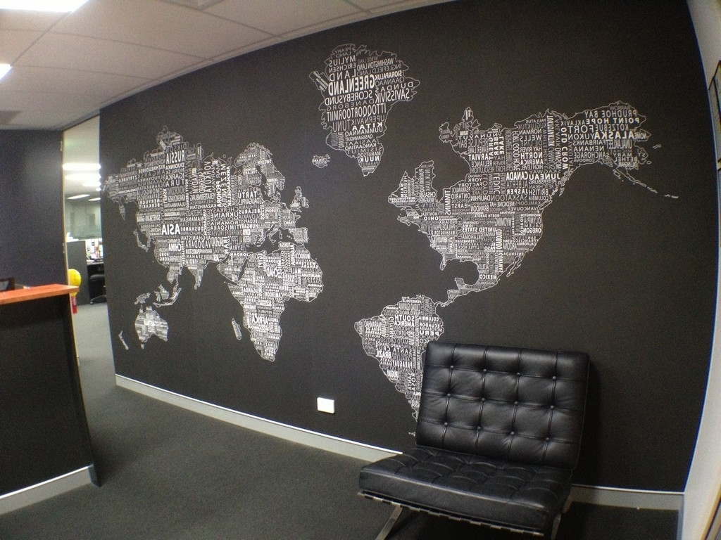 Recent Cool Map Wall Art Inside World Map Wall Decor For Modern Office Design With Black And White (View 11 of 15)