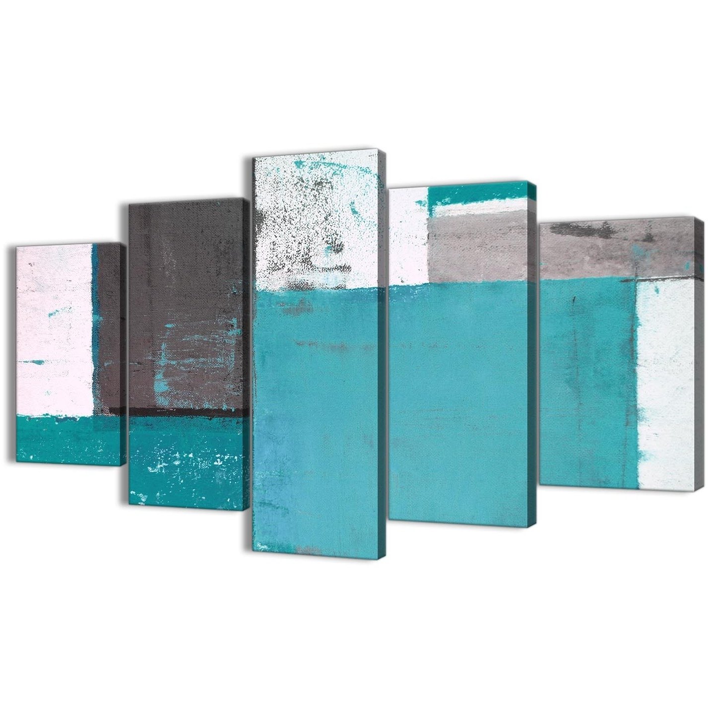 Recent Extra Large Teal Grey Abstract Painting Canvas Wall Art Multi 5 Set Within Oversized Teal Canvas Wall Art (View 13 of 15)