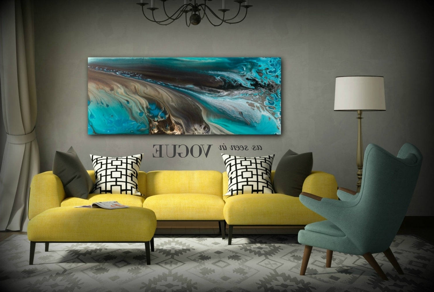 Recent Giclee Prints Art Abstract Painting Coastal Home Decor Modern Canvas Pertaining To Large Coastal Wall Art (View 11 of 15)