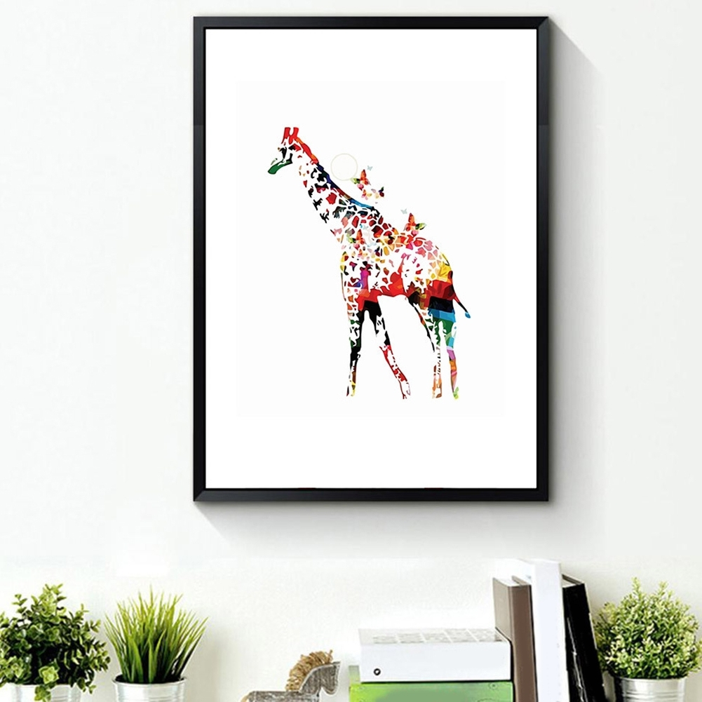 Recent Giraffe Canvas Wall Art Pertaining To Phoenix: Watercolor Giraffe Butterflies Picture Painting Canvas Wall (View 11 of 15)