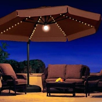 Recent Lighted Umbrellas For Patio Within Solar Lighted Umbrellas Powered Patio Umbrella Home Depot – Chann (View 12 of 15)
