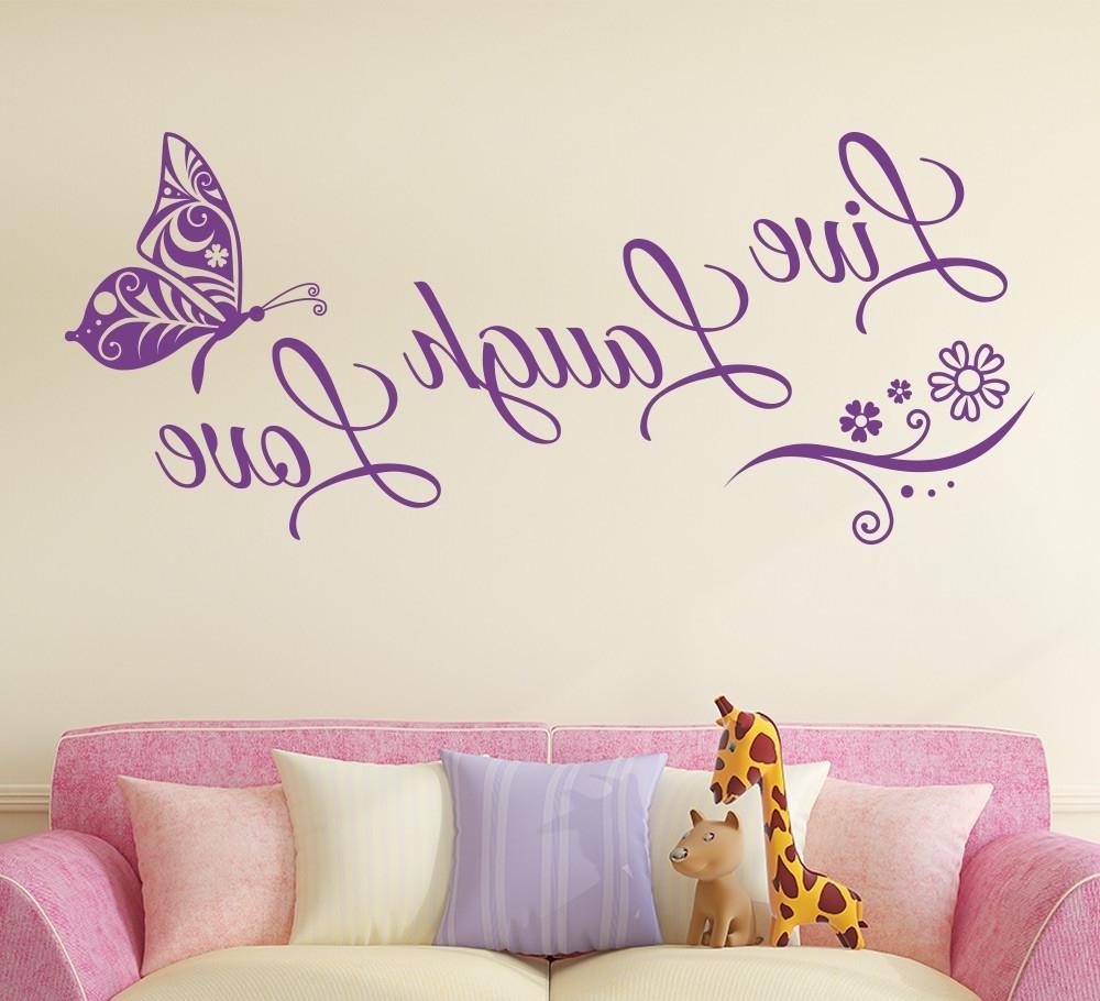 Recent Live Laugh Love Wall Art Within Live Laugh Love Butterfly Flower Wall Art Sticker – Gemdrip (View 14 of 15)
