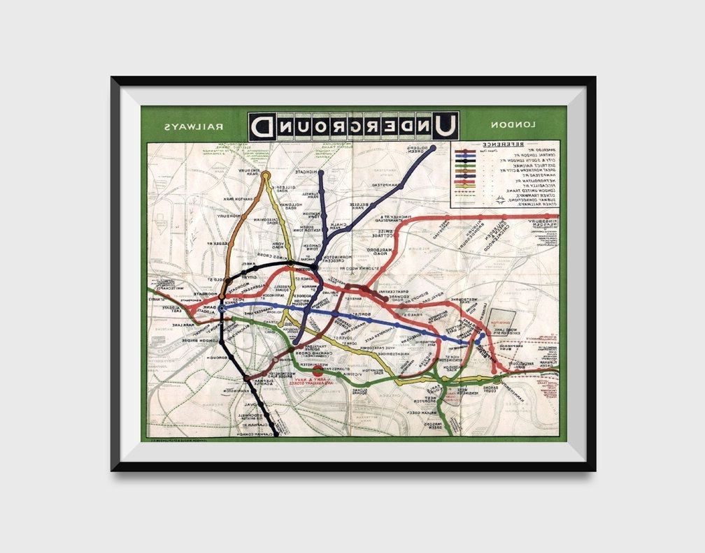 Recent London Underground Map Wall Art Poster – London Tube Metro Subway Throughout Tube Map Wall Art (View 4 of 15)