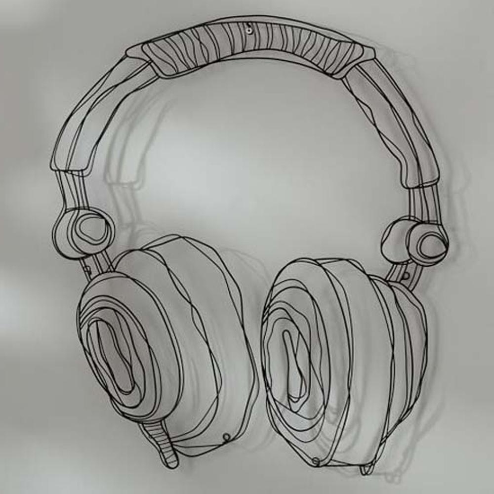 Recent Metal Wire Guitar Wall Decor Art Music Wall Sculpture Wire Headset For Wire Wall Art (View 11 of 15)