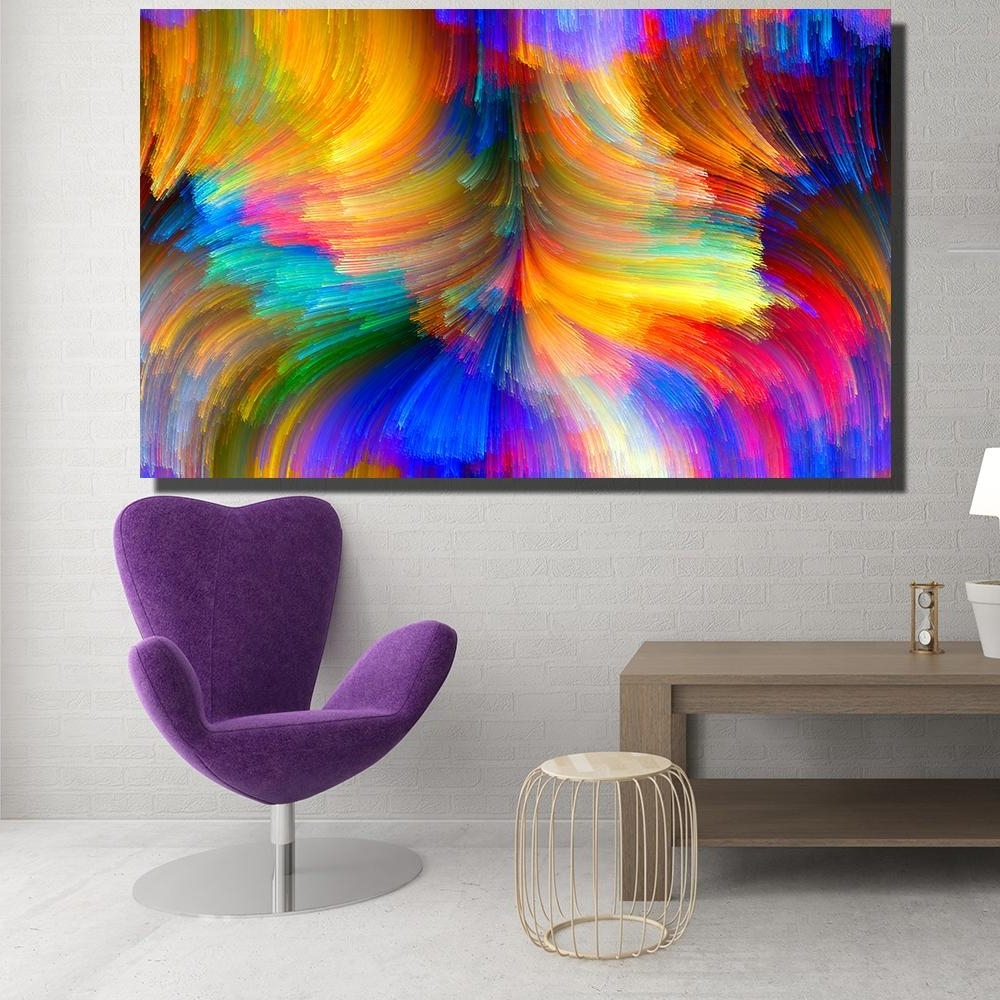 Recent Modern Canvas Wall Art Inside 2018 Modern Canvas Prints Oil Painting Abstract Abstract Bright (View 6 of 15)