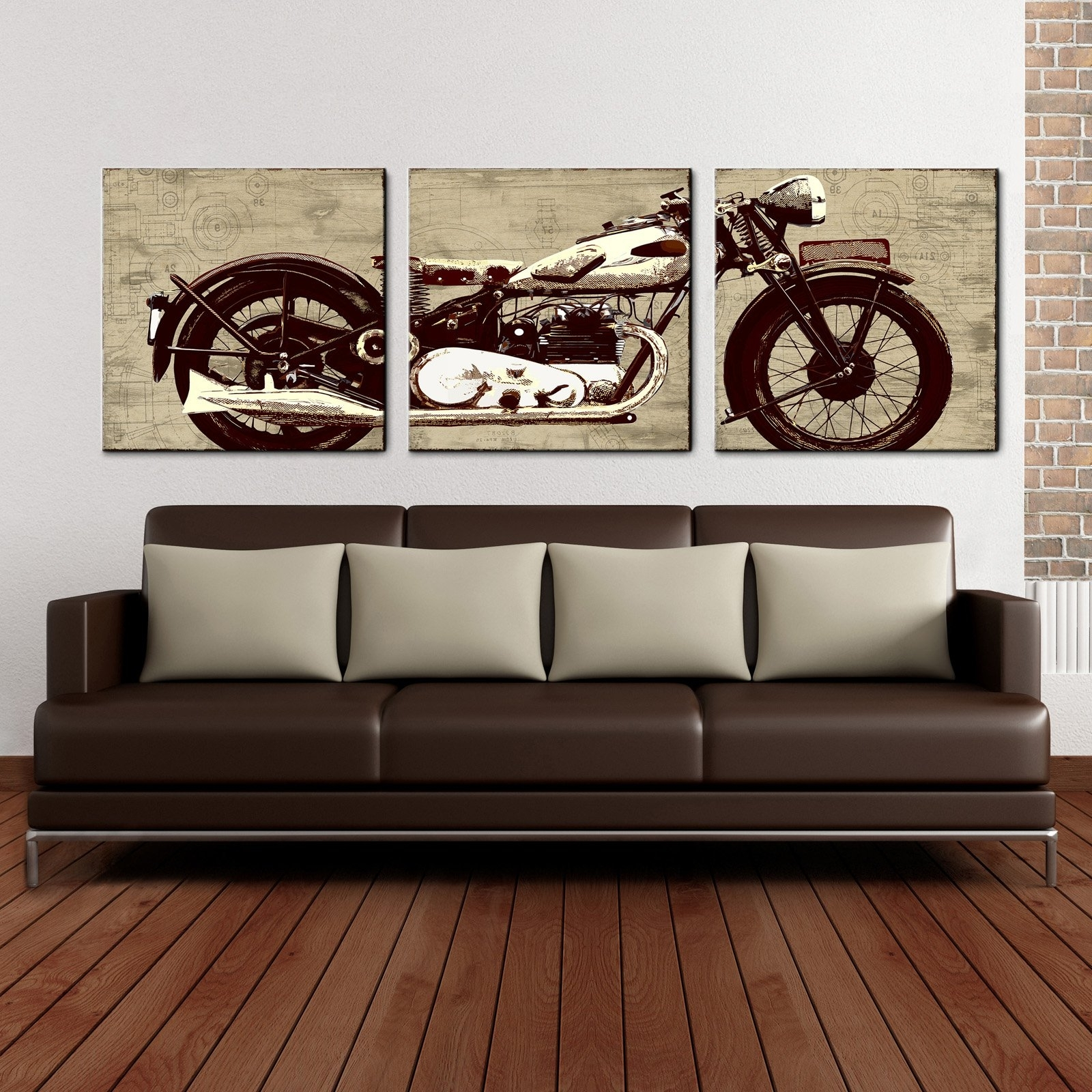 Recent Motorcycle 24 X 72 Canvas Art Print Triptych – Walmart Pertaining To Motorcycle Wall Art (View 9 of 15)