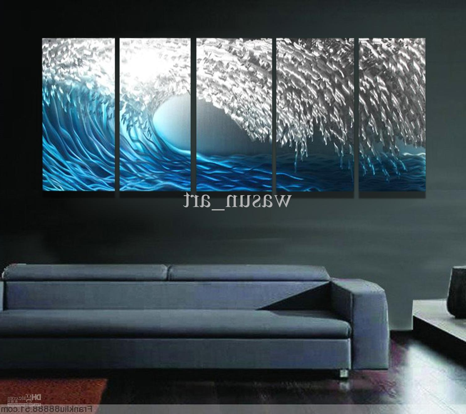 Recent Ocean Wall Art With 2018 Blue Ocean Metal Wall Sculpture Painting,handmade Modern (View 9 of 15)