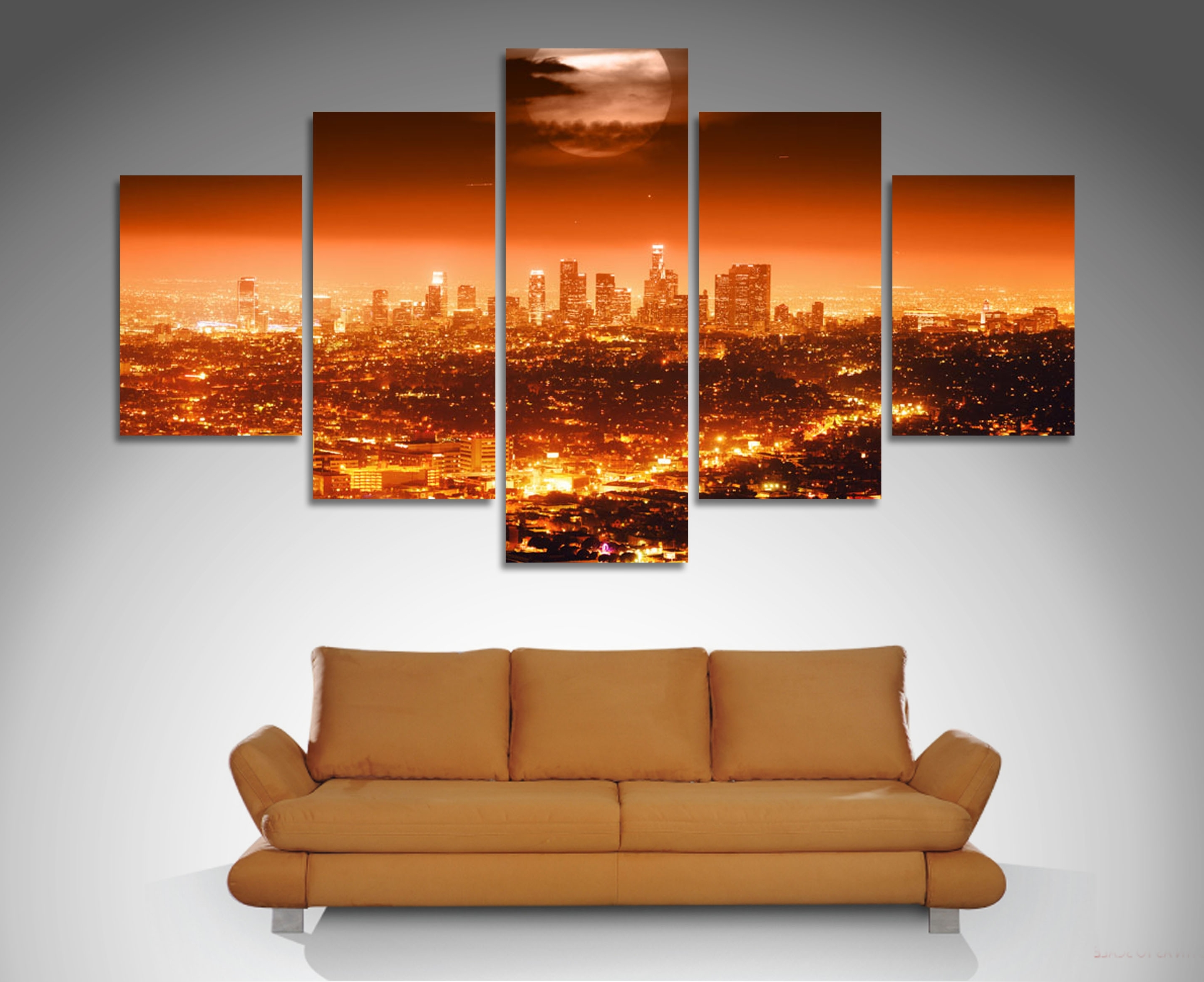 Recent Panel Wall Art Inside Los Angeles 5 Panel Wall Art Canvas Print (View 10 of 15)