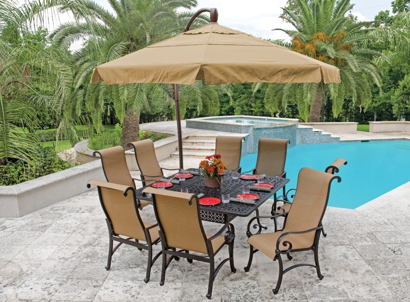 Recent Patio Furniture With Umbrellas With Regard To Pool Patio Table Umbrella : Life On The Move – Ideal Patio Table (View 2 of 15)