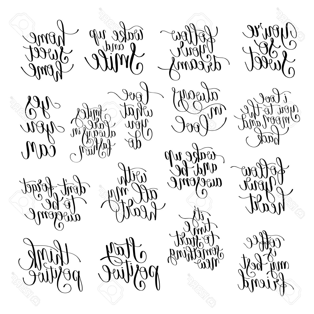 Recent Printable Wall Art Intended For Set Of Handwritten Positive Inspirational Quotes Brush Typography (View 13 of 15)