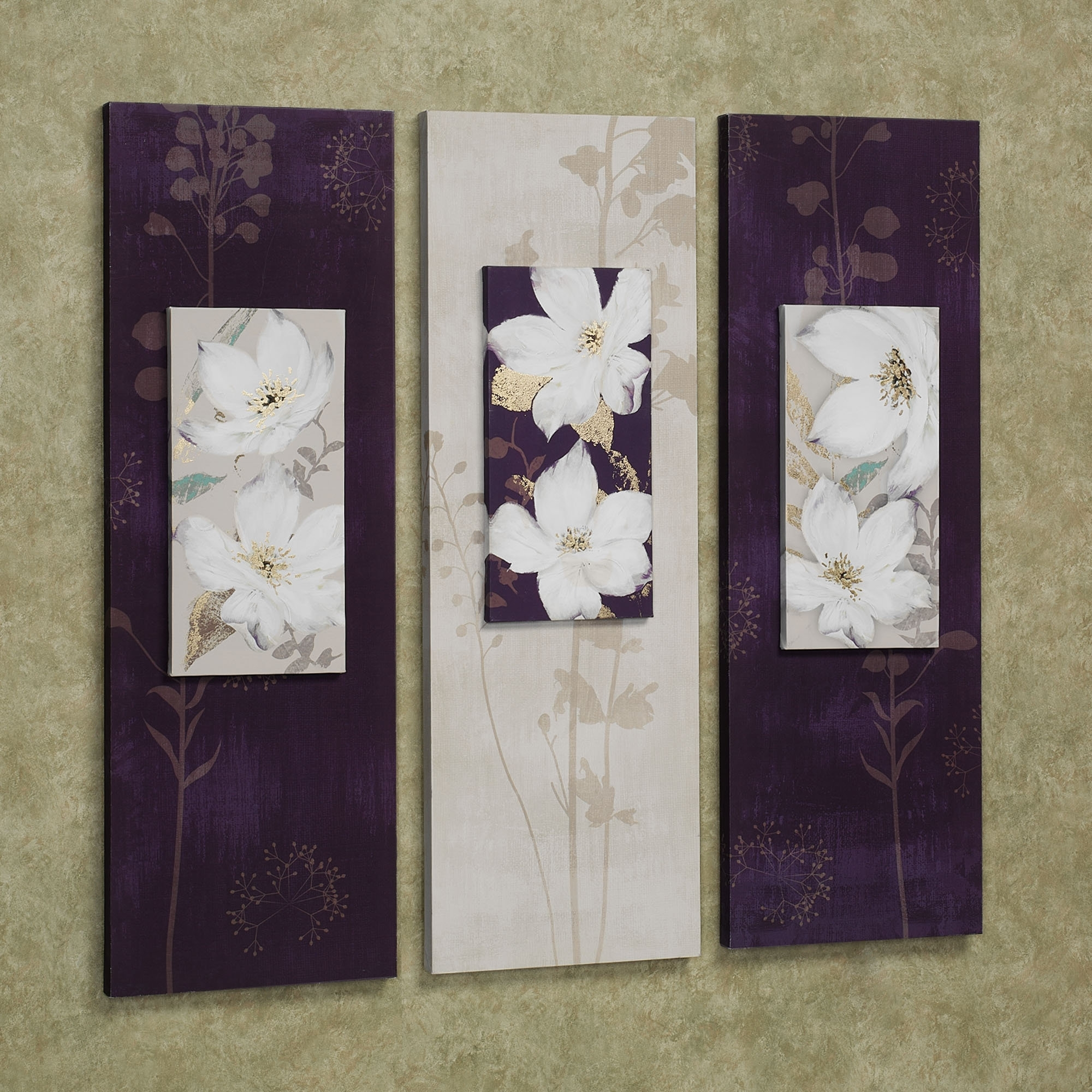 Recent Purple Wall Art Canvas Within Decor: Purple White Garden Dance Floral Canvas Wall Art Set (View 9 of 15)