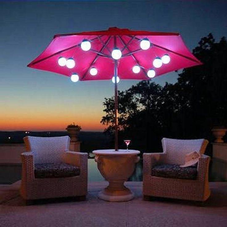 Recent Romantic Patio Umbrella Lights Solar Powered : Best Furniture Decor In Solar Powered Patio Umbrellas (View 6 of 15)