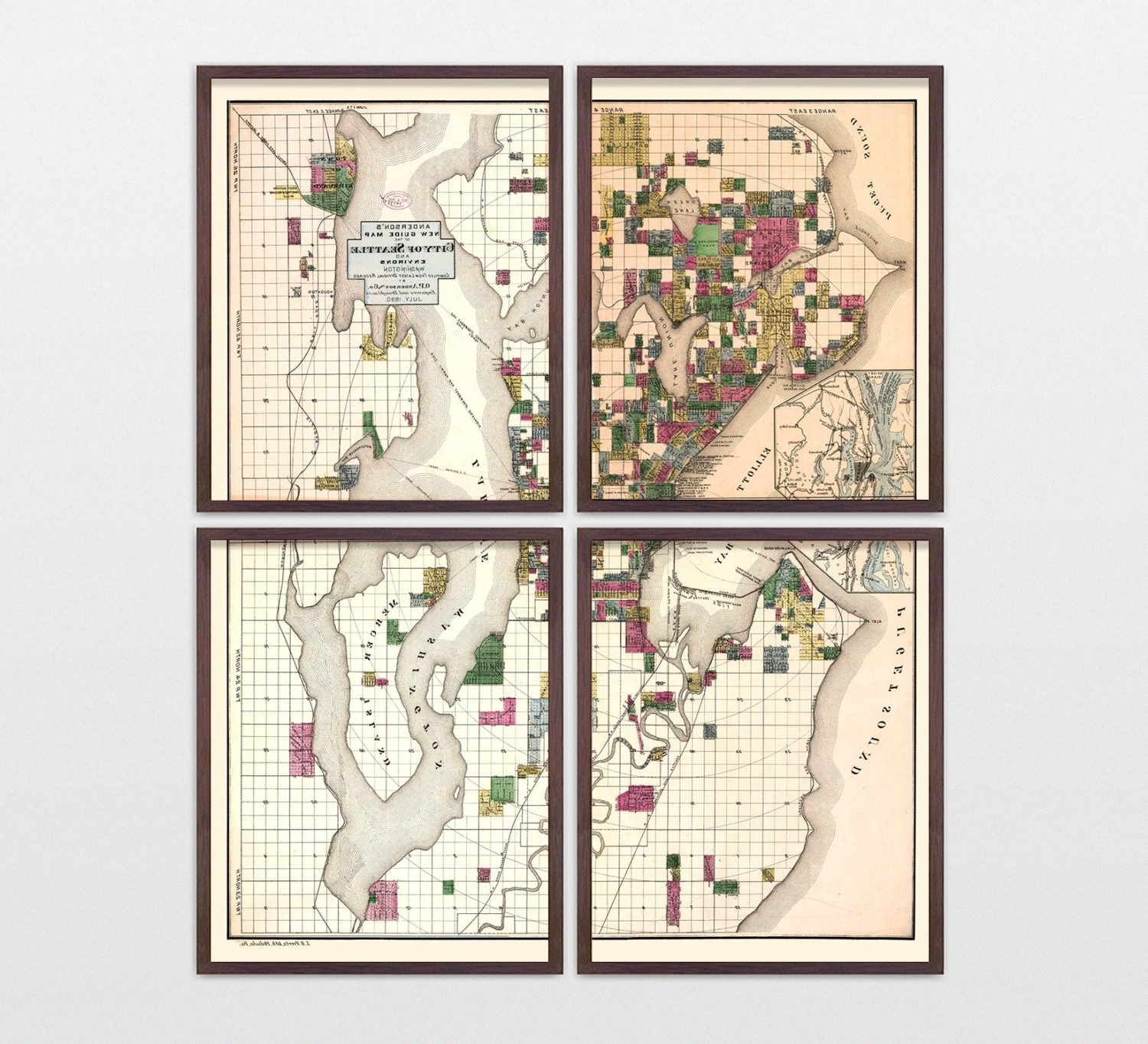 Recent Seattle Map – Antique Map – Archival Reproduction – Seattle Regarding Seattle Map Wall Art (View 4 of 15)