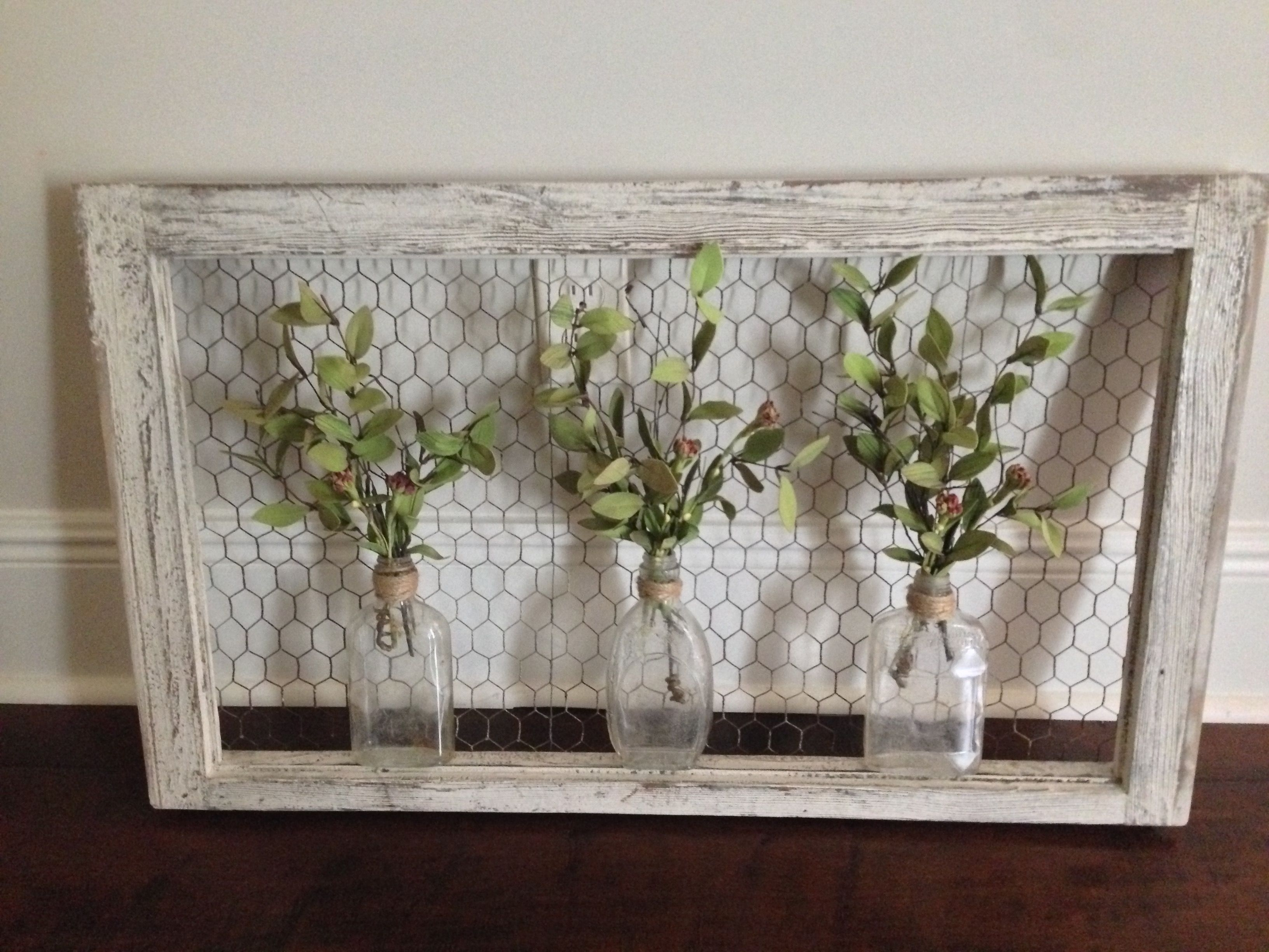 Recent Wall Art: Old Window Frame, Chicken Wire, Old Bottles And Greenery With Window Frame Wall Art (View 2 of 15)