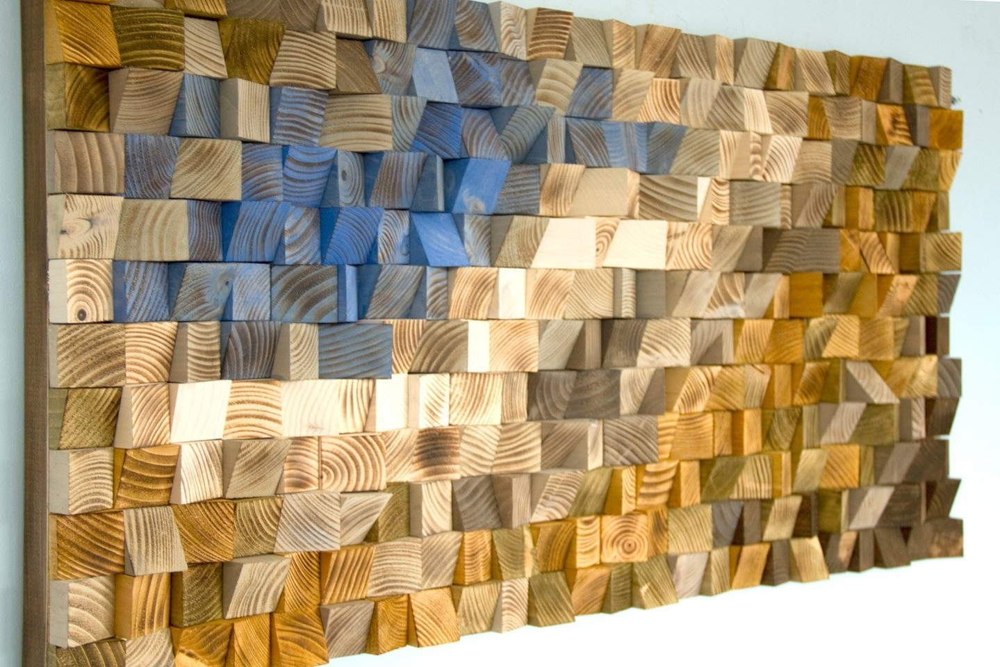 Reclaimed Wood Wall Art With Most Popular Reclaimed Wood Wall Art, Wood Mosaic, Geometric Art, Wood Wall Art (View 11 of 15)