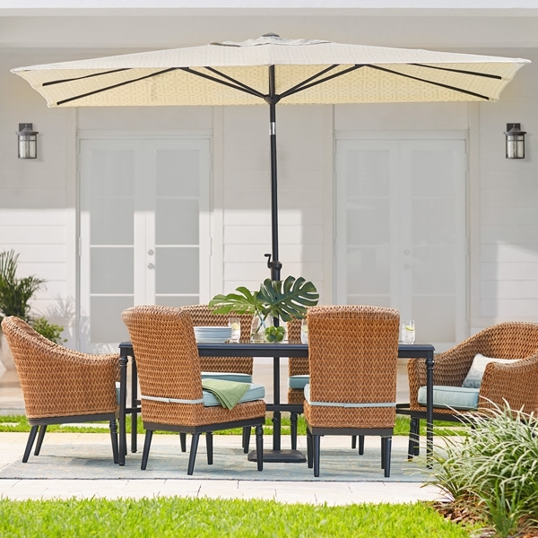Rectangular Patio Umbrellas In Well Known Patio Umbrellas – The Home Depot (View 10 of 15)
