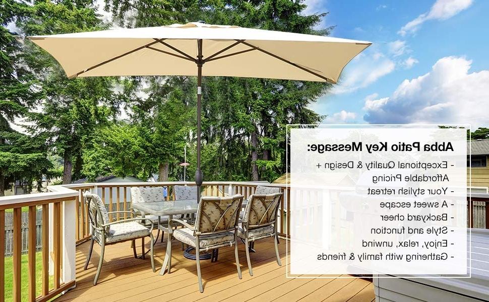 Rectangular Patio Umbrellas Inside Best And Newest Amazon : Abba Patio Rectangular Patio Umbrella Outdoor Market (View 12 of 15)