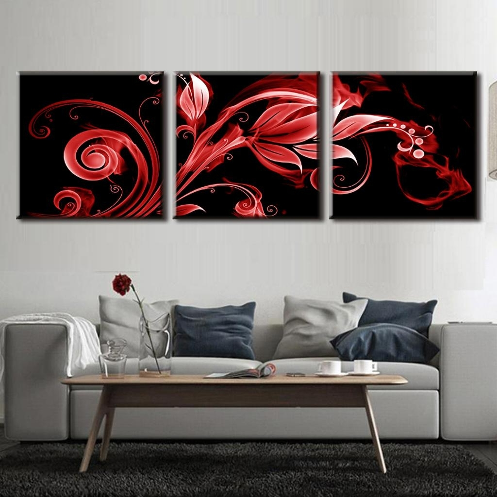 Red And Black Canvas Wall Art Inside 2018 3 Pcs/set Abstract Red Flame Pattern Vertical Wall Art Red Flower In (View 6 of 15)