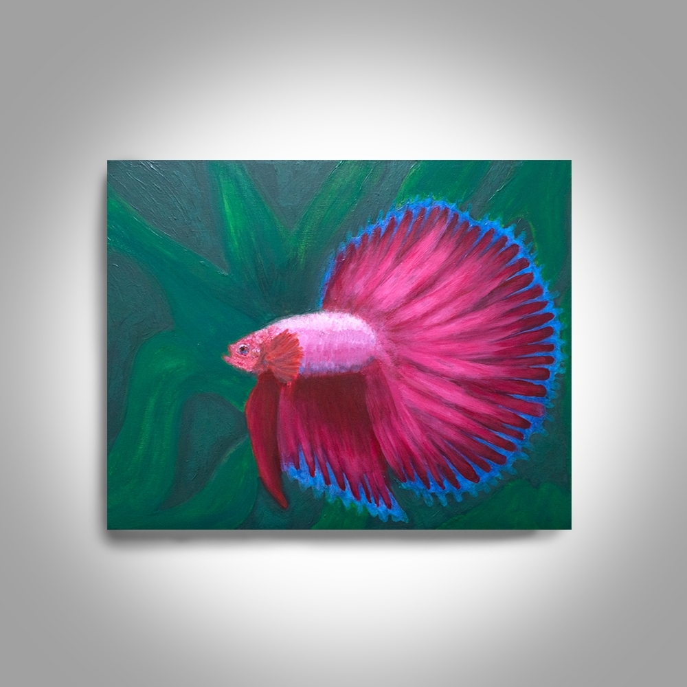 Red Betta Acrylic Fighting Fish – 20 X16 Canvas Painting, Wall Art Intended For Famous Fish Painting Wall Art (View 8 of 15)