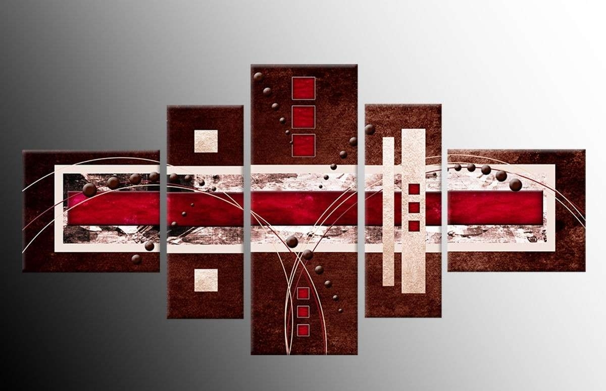 Red Canvas Wall Art With Most Recently Released Red And Brown Abstract Art Red Canvas Wall Art New 5 Panel Brown Red (View 12 of 15)