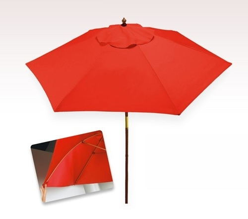 Red Patio Umbrellas Intended For Widely Used Personalized Red 7 Ft X 6 Panel Configuration Vinyl Patio Umbrellas (View 8 of 15)