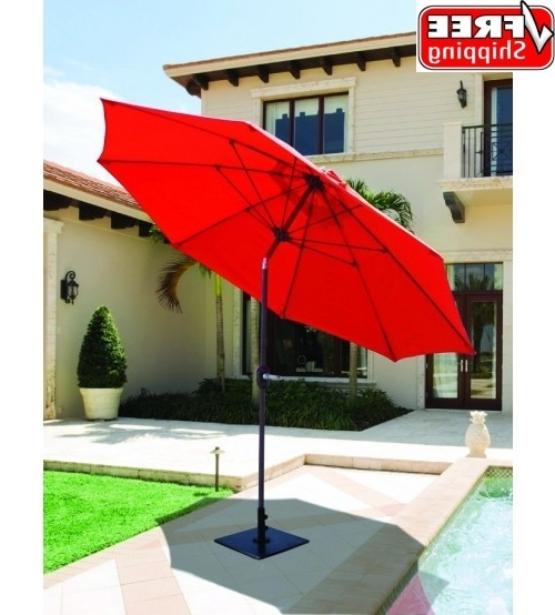Red Sunbrella Patio Umbrellas With Well Known Best Selection Tilt Patio Umbrellas – Galtech 9 Ft Manual Tilt (View 9 of 15)