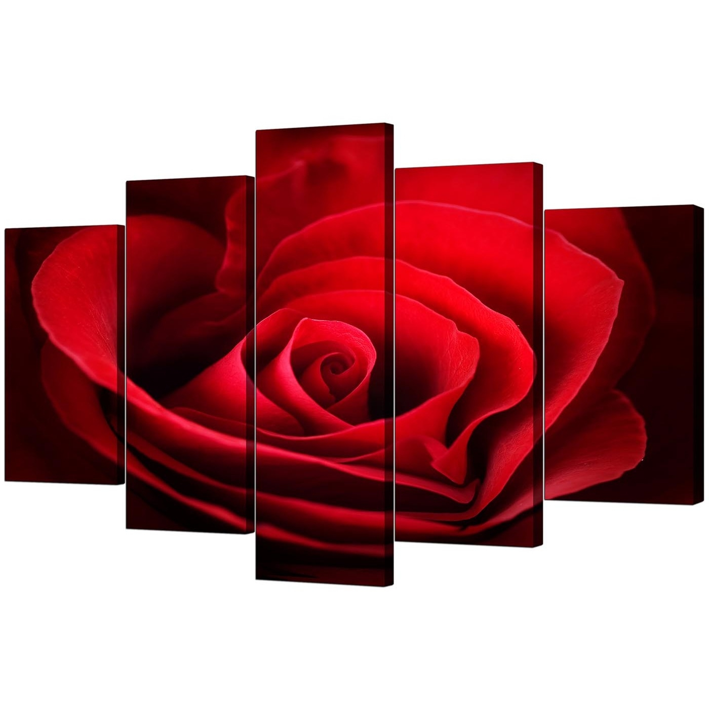 Red Wall Art Intended For Well Known Extra Large Rose Canvas Wall Art 5 Panel In Red (View 4 of 15)