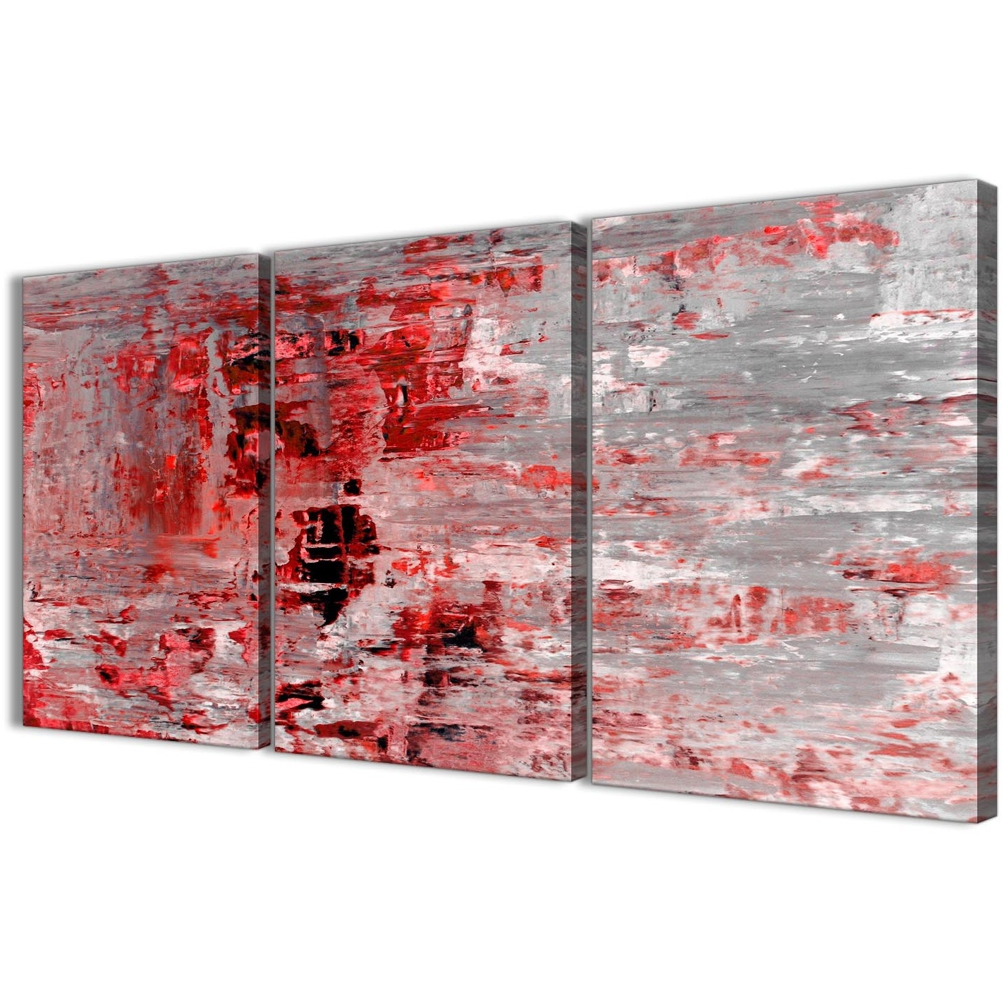 Red Wall Art Throughout Fashionable 3 Piece Red Grey Painting Living Room Canvas Wall Art Decor (View 5 of 15)