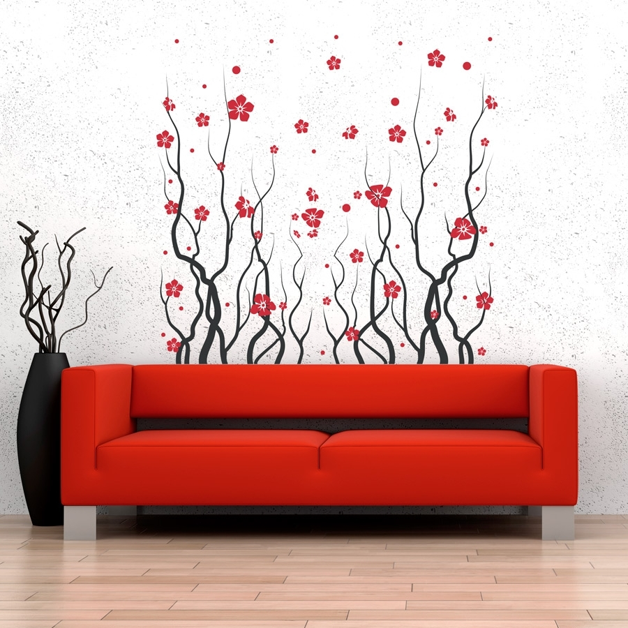Red Wall Art With Regard To Current Red Blossom Flowers Wall Decal (View 12 of 15)