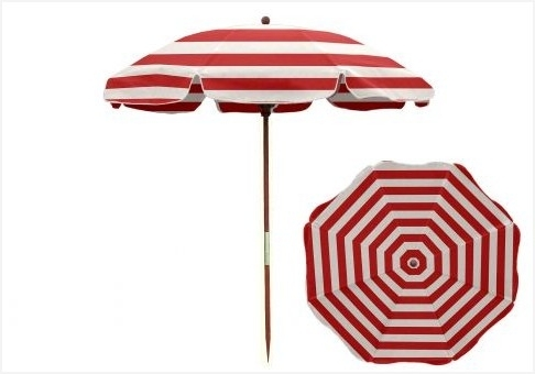 Replacement Patio Umbrella Pole » 7 5 Ft Red And White Stripe Wood For Popular Patio Umbrellas With White Pole (View 13 of 15)