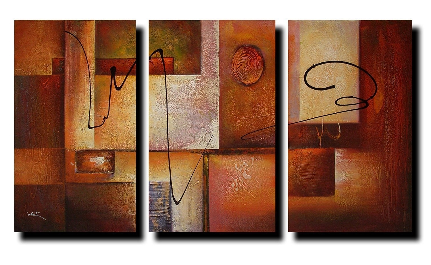 Reviews: Geometric Graphes Modern Abstract Oil Painting Canvas Wall Within Famous Modern Framed Wall Art Canvas (View 14 of 15)