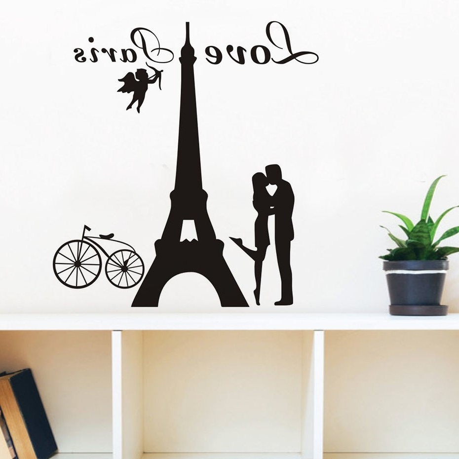 Romantic Love Paris Couples Eiffel Tower Wall Stickers Removable Inside Well Known Eiffel Tower Wall Art (View 7 of 15)