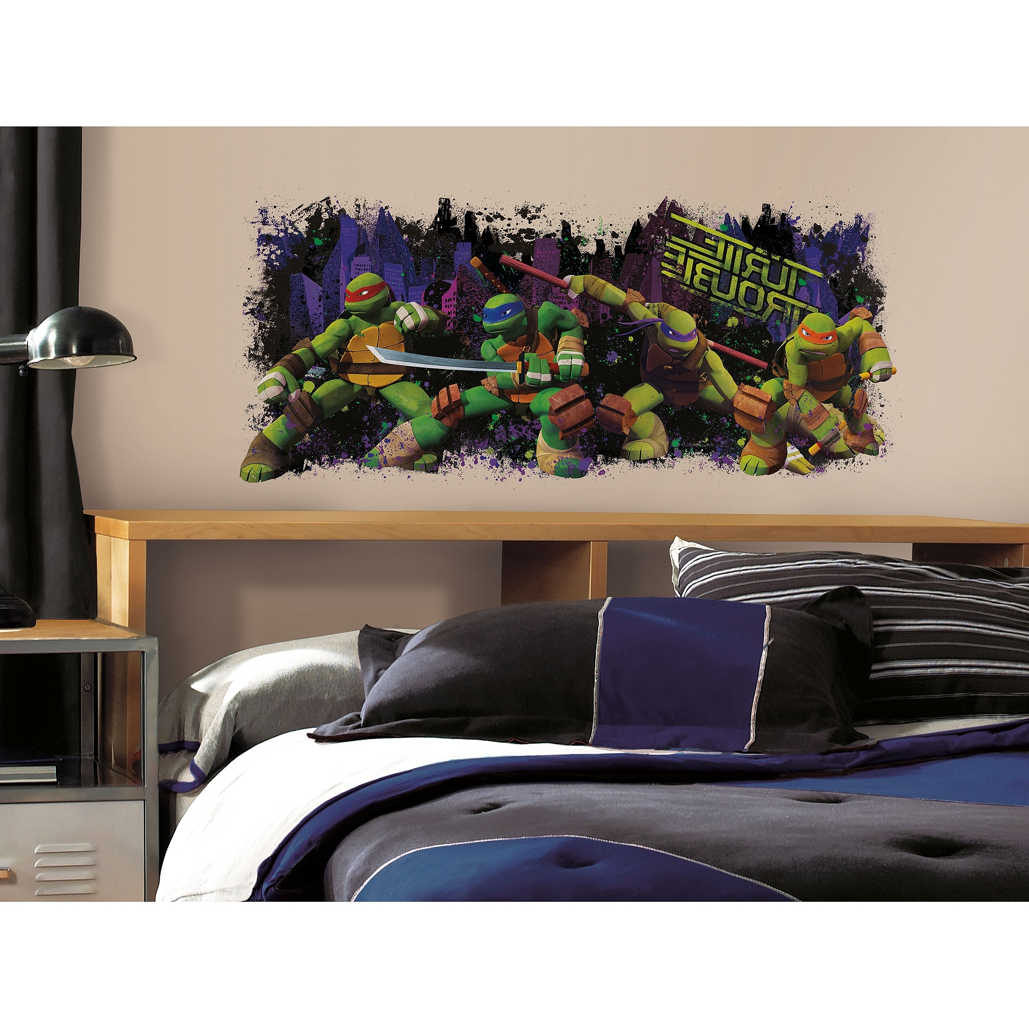 Roommates Teenage Mutant Ninja Turtles Trouble Graphic Peel And In Famous Ninja Turtle Wall Art (View 12 of 15)