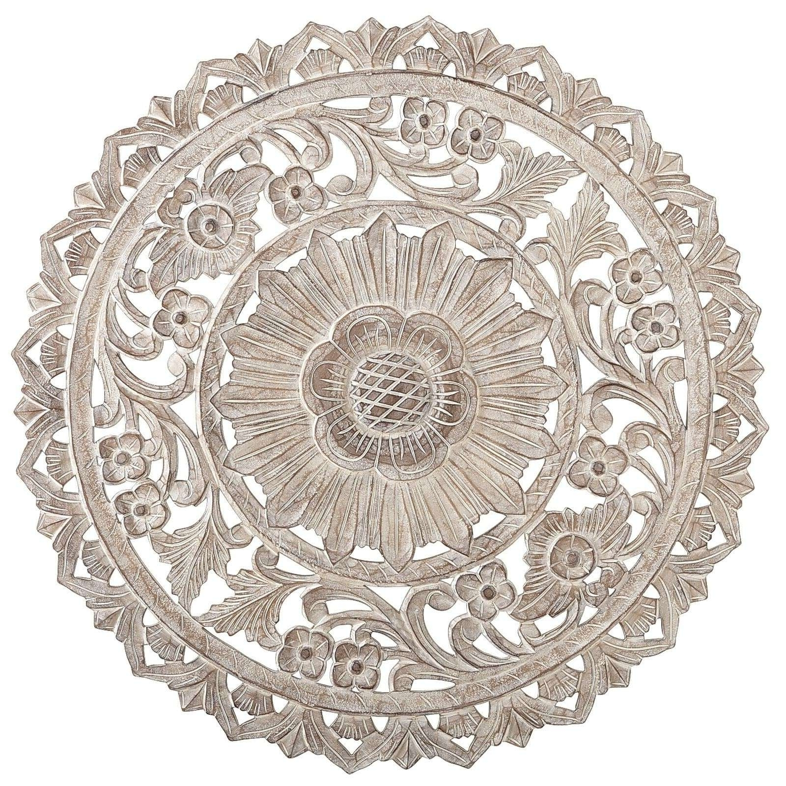Round Medallion Wall Art White Wood Unique Carved Whitewash Decor Pertaining To Favorite Round Wall Art (View 7 of 15)