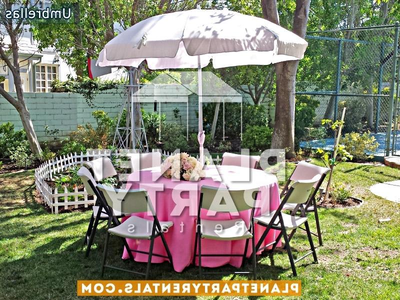 Round White Umbrella Rentals Pertaining To Patio Umbrellas For Rent (View 11 of 15)