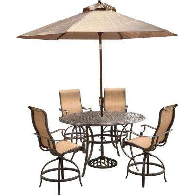 Rustic – Aluminum – Bar Height Dining Sets – Outdoor Bar Furniture Regarding Most Up To Date Patio Umbrellas For Bar Height Tables (View 5 of 15)