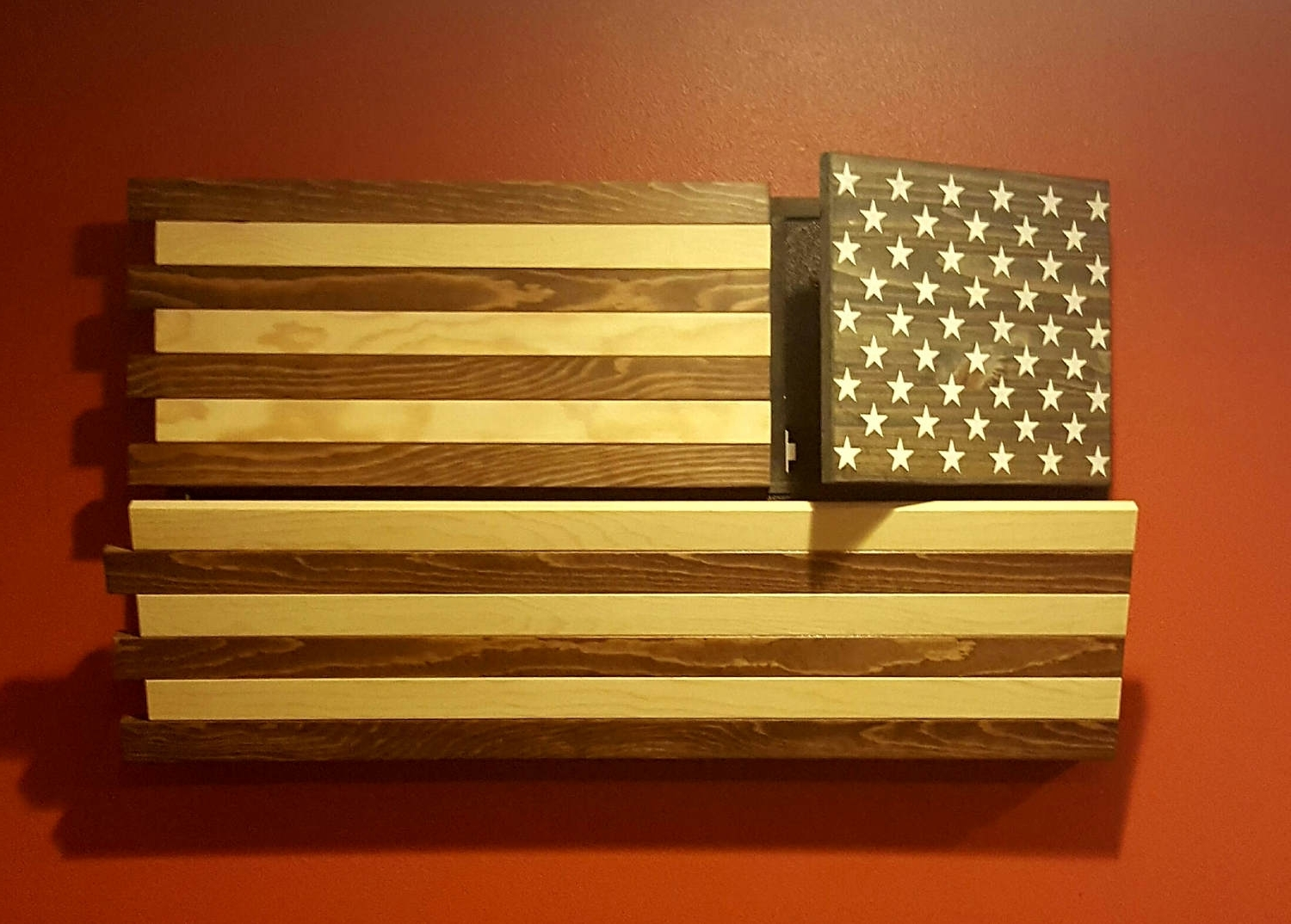 Rustic American Flag Gun Concealment Cabinet Dual Locking (View 12 of 15)